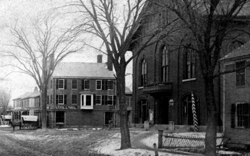 Circa 1870 - Town House with Shed house on right, Benj. Abbott bld. on left