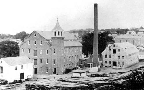The new mill built  in 1866 - 50 x 95 ft. - Old stone Howarth Mill on right