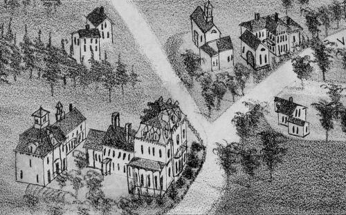Bird eye view of Forest Hill 1882 detail
