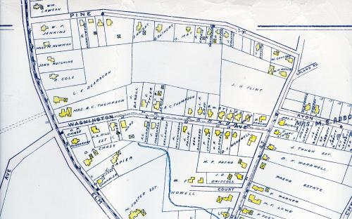 1906 map detail of Washington & Pine Streets
