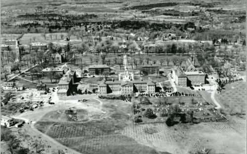 Aerial view of Phillips Academy Campus 1928 with cemetery