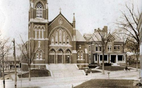 St. Augustine's Church & 1905 Rectory - note 35 Pearson St. house on left