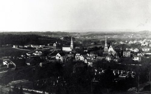Circa 1885 - Free Church in Ctr - Byers House to left of field