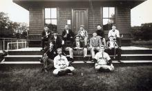 The Niotus Club house and members circa 1890